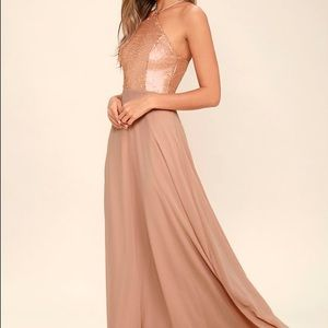Lulus The Best Part Gold Sequin Maxi Dress Size S